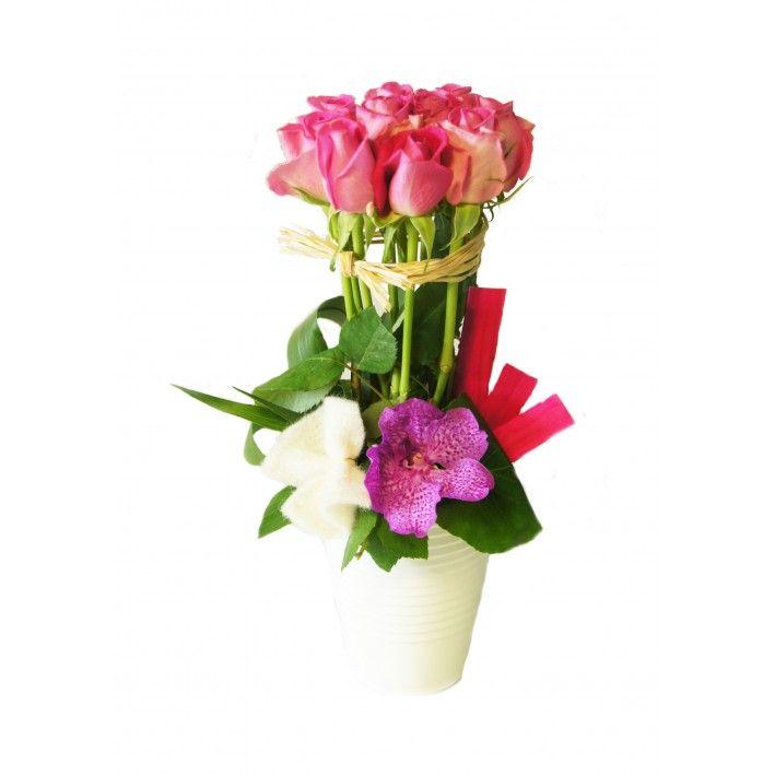 COMPOSITION DE ROSES ROSE HIBISCUS FLEURS