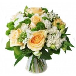 BOUQUET ROND ROSES PEACH AVALANCHE