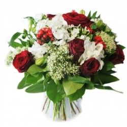 BOUQUET ROND ROSES ROUGE PASSION