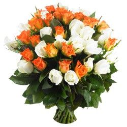 BOUQUET ROSES ORANGE ET BLANCHES