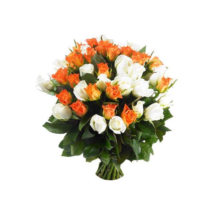 bouquet roses orange et blanches. Black Bedroom Furniture Sets. Home Design Ideas
