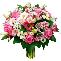 BOUQUET ROND CELEBRATION ROSE
