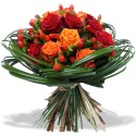 BOUQUET ROND ROSES ARDENTES