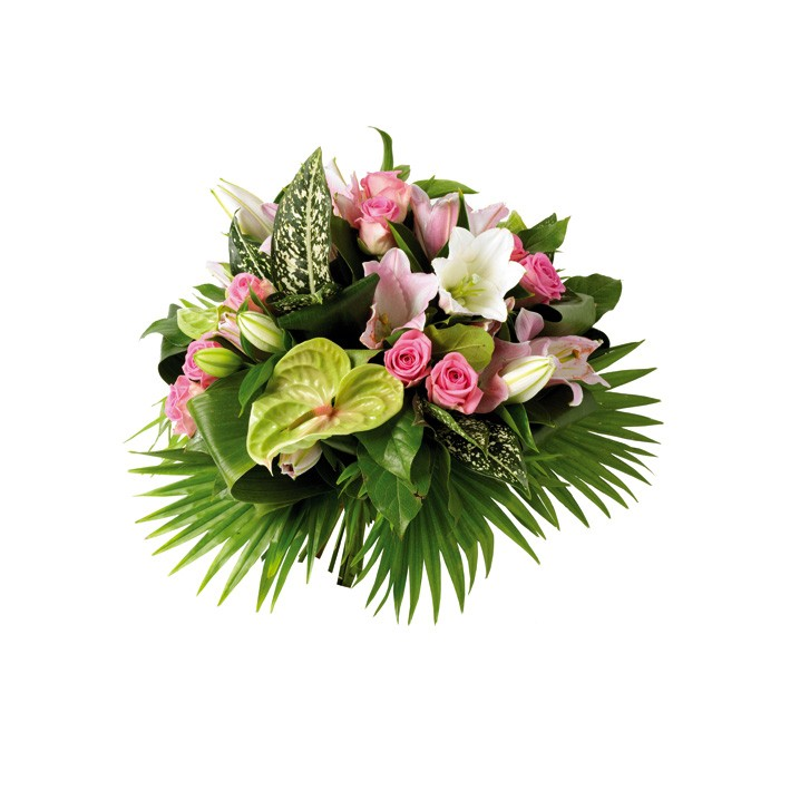 BOUQUET ROND CHACHACHA HIBISCUS FLEURS