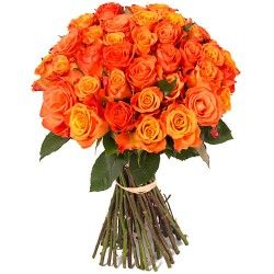 BOUQUET DE ROSES ORANGE HIBISCUS FLEURS