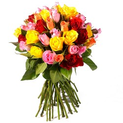 BOUQUET 50 OU 100 ROSES MULTICOLORES
