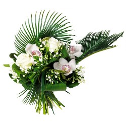 BOUQUET ROND ORCHIDEE PERLE
