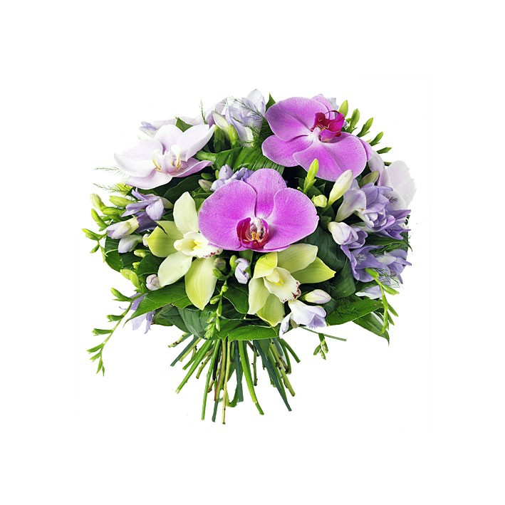 BOUQUET ROND ORCHIDEE NEPTUNE HIBISCUS FLEURS