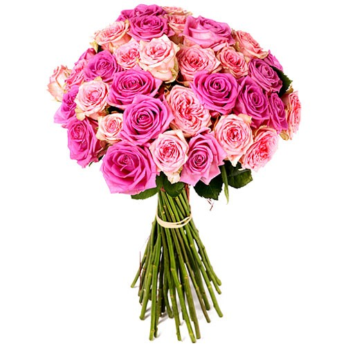 BOUQUET DE ROSES ROSE 50 CM